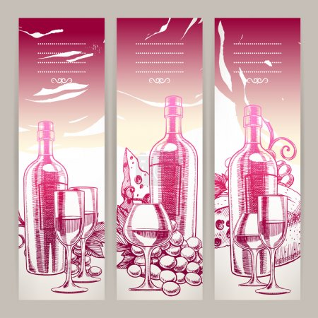 Illustration pour Trois beaux fond avec une bouteille de vin, verres à vin, raisins et fromage. illustration dessinée à la main - image libre de droit