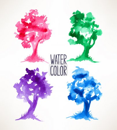 four colorful watercolor trees