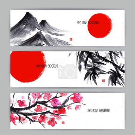 Illustration for Three beautiful banners with Japanese natural motifs. Sumi-e. hand-drawn illustration - Royalty Free Image
