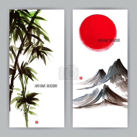 Illustration for Two beautiful banners with Japanese natural motifs. Sumi-e. hand-drawn illustration - Royalty Free Image