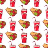 Seamless background with appetizing burritos and drinks