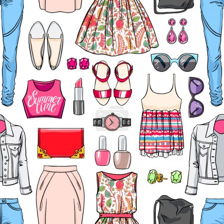 colorful woman's summer clothing