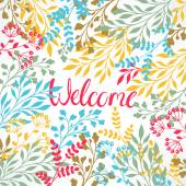 Beautiful greeting card with a variety of multicolored plants