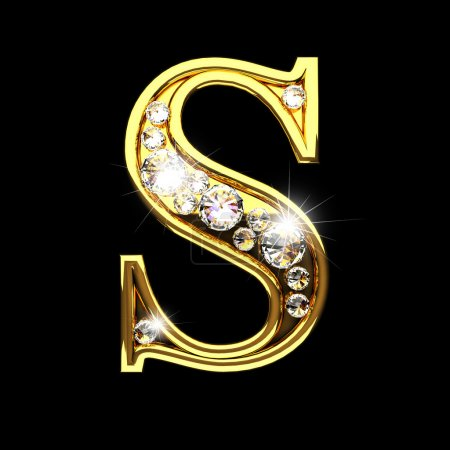 s isolated golden letters with diamonds on black