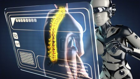 cyborg woman and hologram display