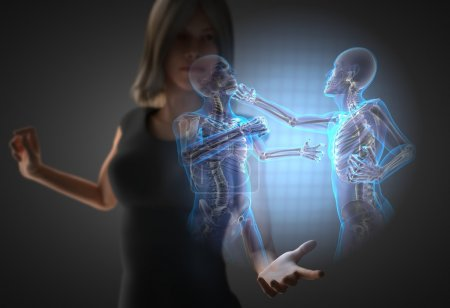 woman and hologram with fighting men