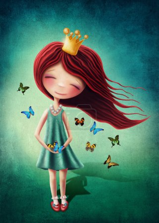 Photo for Little fairy girl with butterflies - Royalty Free Image