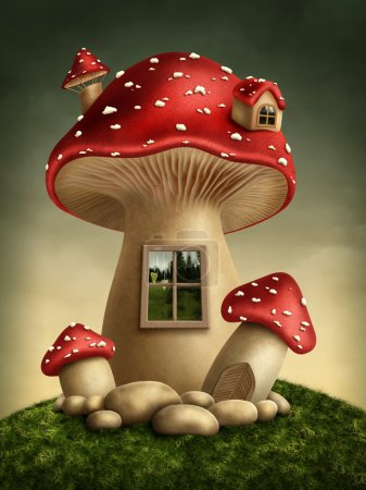 Photo pour Maison champignon fantastique dans la forêt - image libre de droit