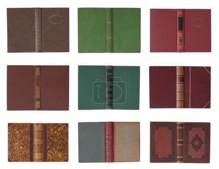 Photo pour Collection de couvertures de livres avec colonne vertébrale isolée sur fond blanc - image libre de droit