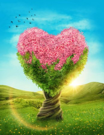 Photo for Heart shaped tree in the meadow - Royalty Free Image
