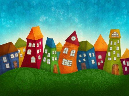 Photo pour Fantaisie maisons colorées dans une rangée - image libre de droit