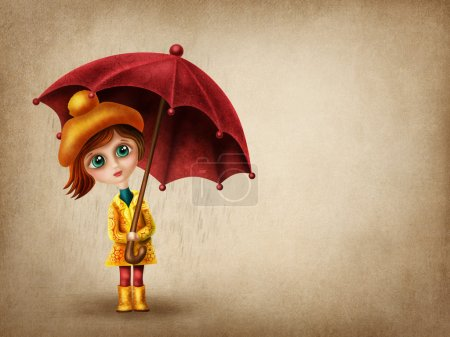 Photo for Little girl with umbrella in the rain - Royalty Free Image