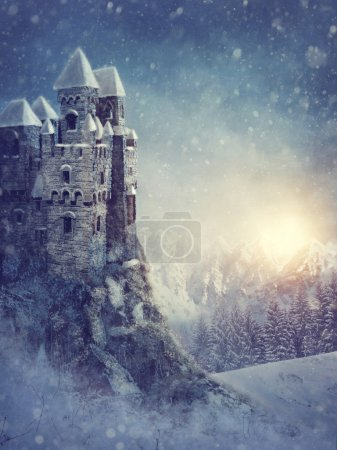 Winter landscape with old castle at night...