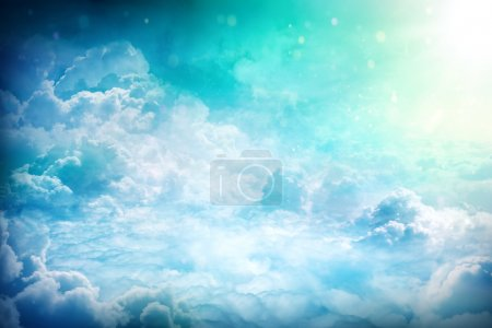 Photo for Over the Clouds, fantastic background with clouds and sunlight beams - Royalty Free Image