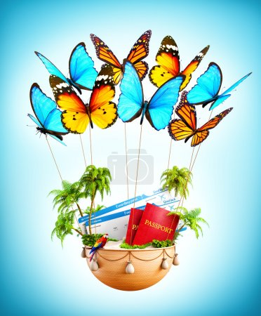 Flying butterflies carrying a basket with tropical island
