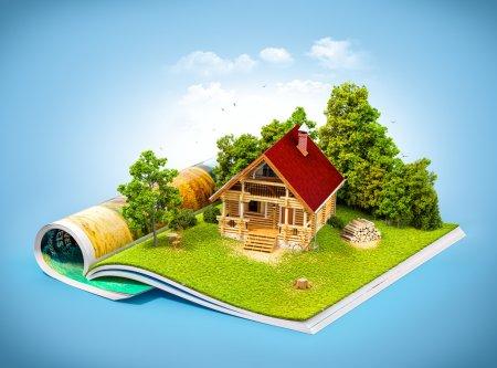 Photo pour Jolie maison rurale dans une forêt sur une page de magazine ouvert. Illustration de voyage insolite - image libre de droit