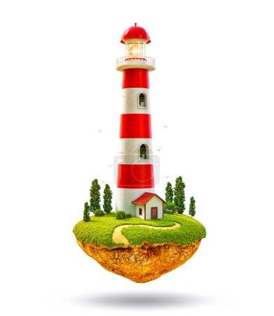 Fantastic lighthouse on a levitating island.