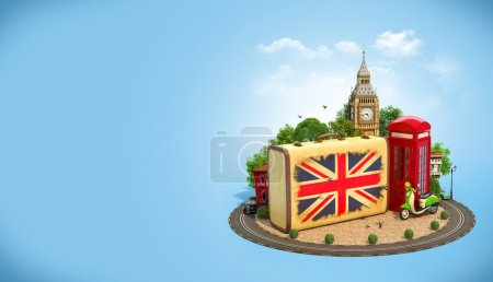 Photo pour Old suitcase with british flag, Big Ben and red phone booth on a square. Unusual traveling concept. - image libre de droit