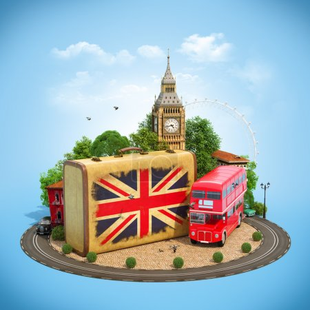 Photo pour Old suitcase with british flag, Big Ben, double decker and red phone booth on a square. Unusual traveling concept. - image libre de droit
