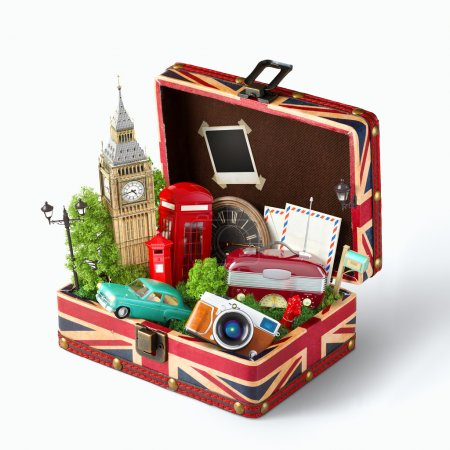 Photo pour Opened box with british flag and famous monuments of London inside. Unusual traveling concept. - image libre de droit