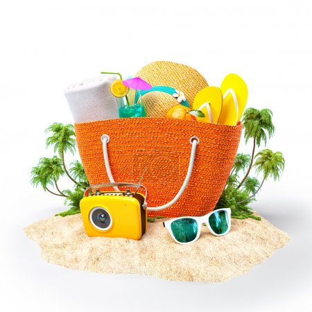 Photo for Beach bag with hat, towel and other on a sand. Travel Background - Royalty Free Image