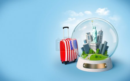 Photo for Statue of Liberty and buildings in the glass ball. Unusual travel illustration. USA - Royalty Free Image