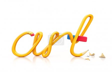 Photo for Yellow pencil in shape of word ART. Unusual art illustration - Royalty Free Image