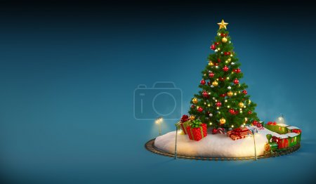 Christmas tree, gifts and railroad on blue background. Unusual Christmas illustration