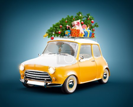 Photo for Retro car with gift boxes and christmas tree. Unusual christmas illustration - Royalty Free Image