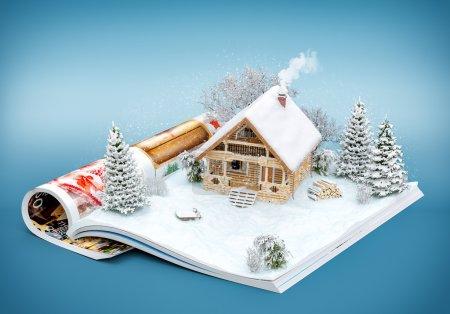 Photo pour Maison en bois rond mignon sur une page de magazine ouvert en hiver. Illustration d'hiver inhabituel - image libre de droit
