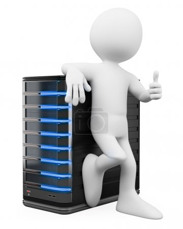 3D white people. System administrator with a thumb up