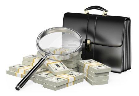 Photo pour 3D vous cherchez argent avec loupe concept. Valise et des liasses d'argent. Fond blanc isolé. - image libre de droit