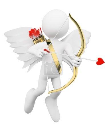 Photo pour 3D les blancs. Cupidon décochant des flèches de l'amour. Fond blanc isolé. - image libre de droit