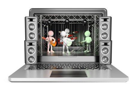 Photo pour 3D les blancs. Groupe de rock dans un ordinateur portable. Vidéo en streaming et le concept de musique en ligne. Fond blanc isolé. - image libre de droit