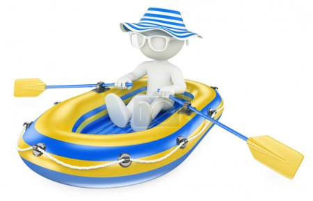 3D white people. Child paddling in an inflatable boat