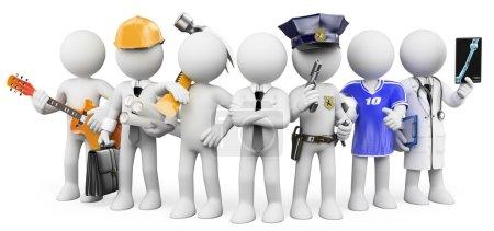 Gente blanca en 3D. Personas que trabajan en diferentes profesiones