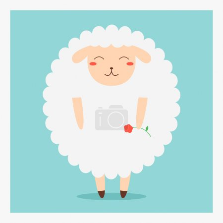 vector cute happy flat domestic animal sheep with red flower on hand