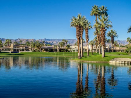 Luxury homes along a golf