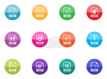 File formats icons set in colorful circles...