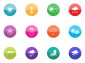 Weather icons set in colorful circles