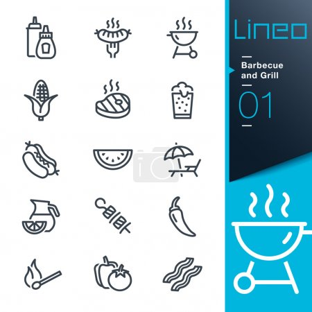"""Illustration for 15 """"Barbecue and Grill"""" web and print icon set. - Royalty Free Image"""