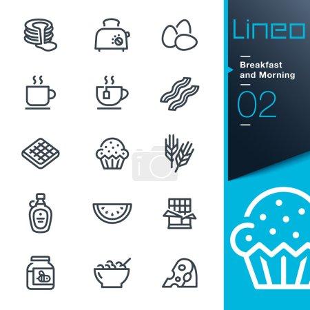 """Illustration pour 15 Ensemble d'icônes web et imprimées """"Petit déjeuner et matin"""" . - image libre de droit"""