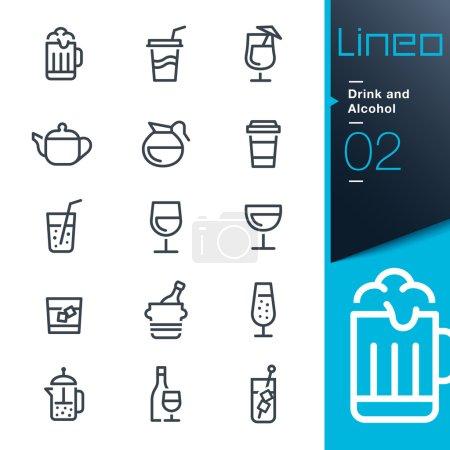 """Illustration pour 15 Ensemble d'icônes web et d'icônes imprimées """"Boisson et alcool"""" . - image libre de droit"""