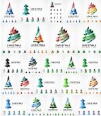 Vektorový sada ikon vánoční strom