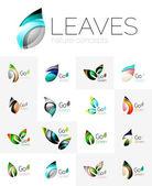 Futuristický design eko list logo sada