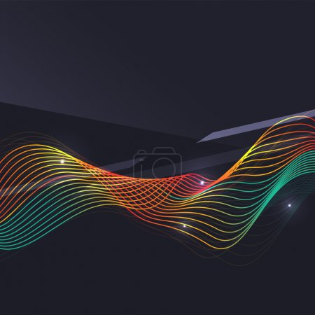 Illustration for Smoke pattern on dark background. Colorful blending lines with shiny effects, business or hi-tech minimal message presentation template - Royalty Free Image