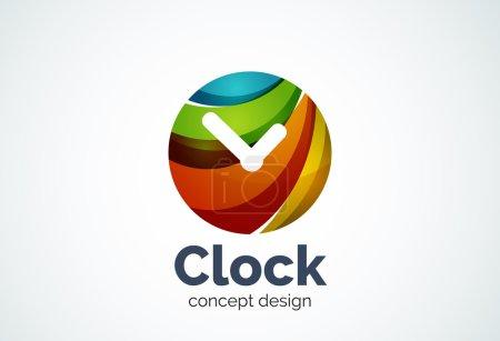Clock logo template, time management business concept
