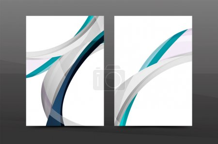 Color waves abstract background geometric A4 business print template