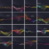 Set of futuristic colorful waves and lines on dark background