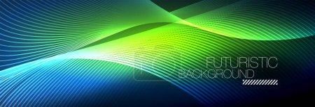 Illustration for Abstract neon glowing light in the dark with waves. Shiny magic energy and motion concept, vector abstract wallpaper background - Royalty Free Image